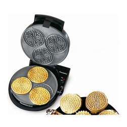 Chef's Choice - Chef's Choice PizzellePro Express Bake - Bake an old world favorite right in your own home. The Chef's Choice PizzellePro bakes 3 party size (3 inch) pizzelles in 60 seconds. These cookies are perfect for holidays and ideal for entertaining. Try rolling them into cylinders or cones and fill with tasty fruits or whipped cream. The PizzellePro comes with a cylinder form for rolling and features baking and ready lights, a non-stick baking surface and an easy-clean overflow channel. A unique locking latch ensures uniform thickness and perfect baking. The instant temperature recovery system means it's always ready to bake. A built-in cord storage compartment lets you conveniently store this pizzelle maker in a space-saving, upright position. Delicious, authentic recipes are included. One-year limited warranty.