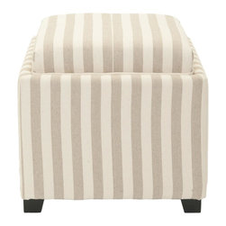 Safavieh - Harrison Single Tray Ottoman - Cream/ Tan Stripe - Serve it with style. In addition to offering extra seating and a place to hide life's disorganized treasures, the Harrison Single Tray Ottoman presents an ideal place for an unexpected tea for two. Crafted with black birch wood detailing and cream and tan cotton upholstery, this sleek little number feels at home in any modern interior.