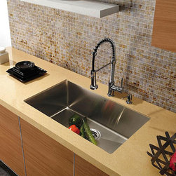 Vigo - Vigo Undermount Tarnish-Resistant Stainless-Steel Kitchen Sink,Faucet and Dispen - This Vigo sink offers top quality and a unique design. The faucet features a dual pull-out spray head for aerated flow or powerful spray. Vigo finishes resist corrosion and tarnishing,exceeding industry durability standards.