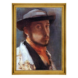 """Edgar Degas-16""""x24"""" Framed Canvas - 16"""" x 24"""" Edgar Degas Self Portrait in a Soft Hat framed premium canvas print reproduced to meet museum quality standards. Our museum quality canvas prints are produced using high-precision print technology for a more accurate reproduction printed on high quality canvas with fade-resistant, archival inks. Our progressive business model allows us to offer works of art to you at the best wholesale pricing, significantly less than art gallery prices, affordable to all. This artwork is hand stretched onto wooden stretcher bars, then mounted into our 3"""" wide gold finish frame with black panel by one of our expert framers. Our framed canvas print comes with hardware, ready to hang on your wall.  We present a comprehensive collection of exceptional canvas art reproductions by Edgar Degas."""