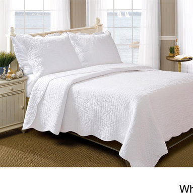 None - La Jolla Seashell Pure Cotton 3-piece Quilt Set - With classic coastal charm,the La Jolla quilt set brings a clean look to any seaside home or bungalow. Used as a quilt topper or layering piece,this all-cotton spread features nautical seashells and sand dollars quilted in a repeating motif.