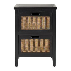 Safavieh - Jonah End Table - Black - The Jonah end table takes its cues from the British Colonial style, where dark woods and exotic finishes evoke steamy ends in the Caribbean. Jonah features two roomy drawers with a woven panel and a rich TKTK finish.