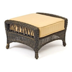 Woodard Serengeti All Weather Wicker Ottoman - You might not have wandered Africa's Serengeti, but after a long day, you might feel like you have. Kick back and kick up your tired feet with the Woodard Serengeti All Weather Wicker Ottoman, the perfect companion for our Woodard Serengeti outdoor chairs. Crafted with durable weather-resistant resin wicker over a sturdy aluminum frame, this subtly arched, deep brown ottoman boasts a rustic, twig-like weave along the sides. The semi-sheer curved-bottom base is finished with gracefully shaped feet and topped with an all-weather fabric cushion in a nice selection of colors and patterns.Important NoticeThis item is custom-made to order, which means production begins immediately upon receipt of each order. Because of this, cancellations must be made via telephone to 1-800-351-5699 within 24 hours of order placement. Emails are not currently acceptable forms of cancellation. Thank you for your consideration in this matter.Woodard: Hand-crafted to Withstand the Test of TimeFor over 140 years, Woodard craftsmen have designed and manufactured products loyal to the timeless art of quality furniture construction. Using the age-old art of hand-forming and the latest in high-tech manufacturing, Woodard remains committed to creating products that will provide years of enjoyment.Superior Materials for Lasting DurabilityIn the Aluminum Collections, Woodard's trademark for excellence begins with a core of seamless, virgin aluminum: the heaviest, purest, and strongest available. The wall thickness of Woodard frames surpasses the industry's most rigid standards. Cast aluminum furniture is constructed using only the highest grade aluminum ingots, which are the purest and most resilient aluminum alloys available. These alloys strengthen the furniture and simultaneously render it malleable. The end result is a fusion of durability and beauty that places Woodard Aluminum furniture in a league of its own.All Seasons Outdoor Wicker is the late