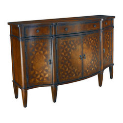 Hammary - Hammary T72327-00 Hidden Treasures Three Drawers Console - The Hidden Treasures collection is a fabulous assortment of one-of-a-kind accent pieces inspired by the greatest furniture designs from around the world. Each selection is a true treasure - rich in Old World icons and traditions. All the pieces in this collection are crafted with attention to every detail. From brass nailhead trim and exquisite hand-painting to elegant shaping and decorative trim  every item is a unique work of art. A wide variety of materials is used to create the perfect look and finest quality - from exotic woods  leather and stone to raffia and glass. The huge selection of finishes  hardware  exceptional carvings and other final touches offer unsurpassed versatility for any room in the home. Hidden Treasures includes cocktail tables  occasional and accent pieces  trunks  chests  consoles  wine racks  desks  entertainment units and interesting storage pieces. Place one in a comfortable reading nook... in the family room for flair and variety... in the foyer for a welcome look... in a bedroom for cozy style... or in the office for function and versatility. The pieces in this collection mix beautifully with any decorating style and will easily become the focal point in any setting.