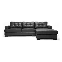 Baxton Studio - Bronson Black Leather Modern Sectional Sofa - Our Bronson Modern Sectional Sofa will get you the most bang for your buck! This 2-piece sofa and chaise lounge set is large enough to seat five or more and fits nearly any budget. This Chinese-built couch features black bonded leather, firm foam cushioning, and a wooden frame. We also include removable backrest cushions, black plastic legs with non-marking feet, and a connecting bracket between the sofa and chaise. A hinged, flip-down backrest extension piece aids in more compact, secure shipping. Minor assembly is required.