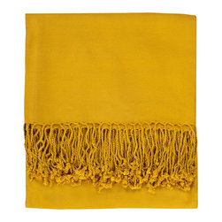 Nine Space - Solid Bamboo Viscose Throw, Mustard - Throws like this are as functional as they are versatile. Toss one across a chair, chaise or bed to add an instant shot of color, then when the evening chill sets in, wrap yourself in its warmth. Oh-so soft and whisper light, this throw is woven from ecofriendly bamboo viscose that provides lightweight warmth to be enjoyed year-round.