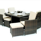 Kontiki - Kontiki Dining Sets - Wicker Small (Ideal for 4 Seats) - [1.0 set/set]      Kontiki assembled patio furniture sets are made from all-weather resin wicker and produced to fulfill your needs for high quality. Unlike many other wicker products on the market, resin wicker will not fade, shrink, loose its strength or snap. Another advantage of this material is its high resistance against sunlight and water. It has especially been improved to withstand North American weather.    The aluminum is lightweight and rust-free. The cushions that come with the patio sets underline the elegance of all Kontiki patio furniture while providing permanent comfort. The cushions come with covers that are specially treated with liquid resistant coatings and are hand washable.    Due to the high quality materials used, Kontiki patio furniture sets can be left outside in any weather or season, although it is recommended to cover the furniture in the winter months. Each and every piece is checked to ensure quality standards are met. It is ideal for both domestic and commercial use. All patio sets come with a two year warranty, although, the expected life of Kontiki Patio Furniture sets before they start losing the original look is 7-8 years.