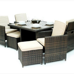 Kontiki - Kontiki Dining Sets - Wicker Small (Ideal for 4 Seats) - Kontiki assembled patio furniture sets are made from all-weather resin wicker and produced to fulfill your needs for high quality. Unlike many other wicker products on the market, resin wicker will not fade, shrink, loose its strength or snap. Another advantage of this material is its high resistance against sunlight and water. It has especially been improved to withstand North American weather.    The aluminum is lightweight and rust-free. The cushions that come with the patio sets underline the elegance of all Kontiki patio furniture while providing permanent comfort. The cushions come with covers that are specially treated with liquid resistant coatings and are hand washable.    Due to the high quality materials used, Kontiki patio furniture sets can be left outside in any weather or season, although it is recommended to cover the furniture in the winter months. Each and every piece is checked to ensure quality standards are met. It is ideal for both domestic and commercial use. All patio sets come with a two year warranty, although, the expected life of Kontiki Patio Furniture sets before they start losing the original look is 7-8 years.