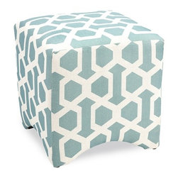 """IMAX - Tanya Blue Geometric Cube - MADE IN THE USA! This line of designer exclusive upholstered furniture is made with pride right here in the USA. Merging stylish fabrics with timeless design, this quality furniture is a great addition to any home. Made of U.S. and imported parts. Item Dimensions: (18""""h x 18""""w x 18"""")"""