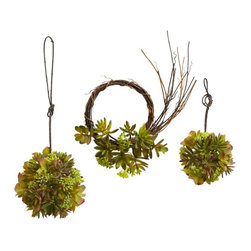 "Mixed Succulent Wreath and Spheres (Set of 3) - For those who can't decide what type of succulent to get, why not get them all? This mixed set includes two succulent spheres one 5"" and the other 7""), and a succulent wreath as well which measures 9""). This means you can have a cornucopia of ""succulent"" decor, for as long as you wish (since these are faux, they never dry out.) Makes an ideal kitchen / dining room piece, and also makes a great gift. Height= 5 - 9 In. x Width= 5 - 9 In. x Depth= 5 - 9 In."