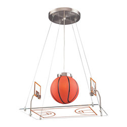 Basketball Court Pendant, Satin Nickel - Have a basketball player at home? Foster his or her love of the sport with this light fixture in the shape of a basketball court. Complete with a giant basketball in the center, this hanging fixture is sure to be a conversation piece when your child's friends come over.
