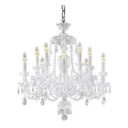 """Inviting Home - Bohemian Crystal Chandeliers (select crystal) - Bohemian select crystal chandelier with cut crystal trimmings; 27"""" x 34""""H (10 lights); assembly required; 10 light select clear crystal chandelier with hand-molded arms and machine-cut crystal trimmings; all metal parts are chromium plated; genuine Czech crystal; * ready to ship in 2 to 3 weeks; * assembly required; This chandelier is a part of Bohemian Classic Collection. Under the name """"Bohemian chandeliers"""" it is impossible to imagine nothing more characteristic than crystal machine-cut chandeliers. Their all-crystal appearance with added non-glass materials makes them ideal representatives of the traditional Bohemian classic. The crystal beauty is then enhanced by mouth-blown cut components or hand-cut chandelier trimmings used. It is just these elements that rank these fixtures among """"jewels"""" illuminating luxurious interiors. The tradition of production luxurious appearance and classical morphology are the common denominator of all these chandeliers. To manufacture these almost 90 percent is hand-completed: mouth-blowing cutting and other techniques applied when working glass and metals. Machine-cut crystal chandelier trimmings and artistically chased metal parts provide a stamp of luxury. Devotees of these lighting fixtures come mostly from the circles of the lovers of magnificent designs created in the style of the timeless classic. Every component passes thorough strict internal Quality Control processes. Highest quality European production with certified standards. UL approved - dry location; hardwire; 10x E12/14 - 40W bulbs; bulbs not included. 3 to 4 feet chain drop provided. Hand crafted in Czech Republic."""