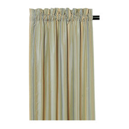 """Frontgate - Camberly Sea Curtain Panel - 108"""" x 48"""" - From Eastern Accents. Camberly Sea Curtain Panel (77766): 108"""" x 48"""".. Dry clean only recommended. Because this product is specially made to order, please allow 4-6 weeks for delivery. The striking Winslet Bedding Collection brings romance to the master bedroom. Adorned in gentle silk and plush chenille, this dreamy bedding features muted hues of sea blue, beige, and aloe. Each exquisite piece is decorated in lavish trimmings and designed with ruched and banded details.  . .  . . Made in Italy. Coordinates with the Winslet Bedding Collection."""
