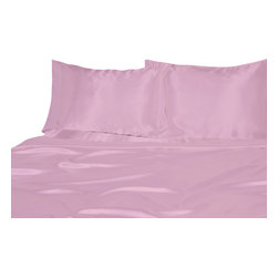 Ultra Soft Satin Silk Fitted Sheet California-King, Pink - You are buying 1 Fitted Sheet (72 x 84 Inches) only.