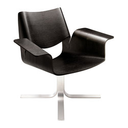 Blu Dot - Blu Dot Buttercup Chair, Graphite on Oak - With plywood bent for beauty and comfort, the Buttercup Chair cradles you in swiveling recline. Available in walnut or white oak with a brushed stainless steel base.