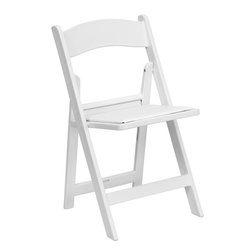Flash Furniture - HERCULES Series 1000 lb. Capacity White Resin Folding Chair with White Vinyl Pad - This HERCULES Series Folding Chair features a 1000 lb. weight capacity so that you can be assured that it will accommodate any function. From indoor or outdoor weddings to other upscale events, this resin folding chair will never let you down. Featuring a padded vinyl seat, our white folding chair will provide an excellent solution to all your event planning needs.