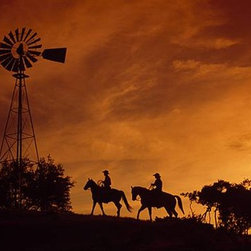 Walls 360, Inc. - Cowboys at Sunset Panoramic Fabric Wall Mural - Transform your empty walls with Walls 360's premium, repositionable wall graphics.