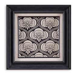 Bassett Mirror - Bassett Mirror Framed Under Glass Art, Ornamental Tile Motif VII - Ornamental Tile Motif VII