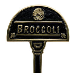Vegetable Garden Marker - Broccoli - These charming garden signs will keep your vegetables neatly labeled. Made to look great for many years to come, these garden markers are made from solid brass and feature a beautiful Polished Brass finish.