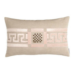 """Lili Alessandra - Lili Alessandra 14"""" x 22"""" Greek Key Pillow - These blush and taupe print linens can go in the washer. They only look and feel as if they're made of silk. Battersea quilted coverlets with mini ruffle are available in Taupe or Ivory; select color when ordering. Greek-key pillows are hand appliqued..."""