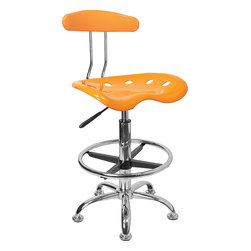 Flash Furniture - Flash Furniture Vibrant Orange-Yellow and Chrome Drafting Stool w/ Tractor Seat - Quality chair at an amazingly affordable price! This sleek, modern stool conforms to several areas in the home or office. The molded tractor seat offers great comfort. The Height adjustable capability of this stool allows you to use the stool at the Dining table and bar table and anywhere in between. Enjoy decorating your home with a splash of color for a dramatic look. [LF-215-YELLOW-GG]