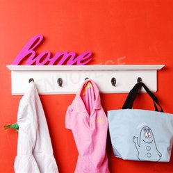 Wall Coat Hangers also serve as Floating Shelf - You will receive a white floating wall shelf with five hooks, which is made from MDF.