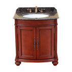 "Bosconi - 31"" Bosconi T-3732 Single Vanity - Small enough for a powder room or guest bath, this gorgeous vanity lacks nothing in elegance! Crafted from solid wood, it boasts a rich red antique finish, antique brass hardware and an unusual dark marble countertop. Yet its two-door cabinet offers plentiful storage space."