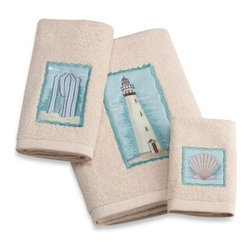 Allure Home Creation-california - Croscill Coastal Collage Bath Towel - Bring all your beach memories to fruition in your bathroom with these Croscill Coastal Collage bath towels. Each piece perfectly represents beach fun with iconic images over sand-colored towels.