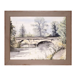 Trowell Landscape 28 Art - Small foot bridges are a traditional subject for the painter, as these scenes' juxtaposition of precise architecture, organic plant life, and the reflective fascination of water challenges the skill of the artist and soothes the eye of the viewer. English watercolorist Alison Trowell's version of the foot bridge is brought to your home in this print with its slate-colored, distressed wooden frame.