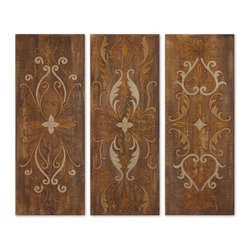 Grace Feyock - Grace Feyock Elegant Swirl Panels Traditional Wall Art X-96123 - These panels are hand painted on crackled canvas with an antiqued glaze. Canvas is stretched and mounted on hardboard. Due to the handcrafted nature of this artwork, each piece may have subtle differences.