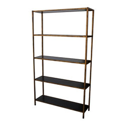 Mortise & Tenon - Newport Metal Bookcase - You don't often show it. You're refined and restrained, just like this classic bookcase. Yet you both shine in ways hard to see at first. It's stately and serious, yet it shimmers in an antiqued gold frame with dark wood shelves ready to hold everything from books to boxes to black and white photos. This piece is stunning in its simplicity.