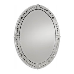 """Uttermost - Graziano Curved Beveled Oval Mirror - This frameless mirror features curved, beveled mirrors with small, round convex mirrors and tulip shaped mirror accents. Center mirror has a generous 1 1/4"""" bevel. Frame Dimensions: 24.5""""W X 33.5""""H X 1""""D; Mirror Dimensions: 19.25""""W X 28.5""""H; Finish: Curved Beveled Mirrors with Convex Circles; Material: Beveled Mirrors; Beveled: Yes; Shape: Oval; Weight: 28 lbs; Included: Brackets, Ready to Hang; Shipping: Free Shipping via UPS 7 - 10 Business Days"""
