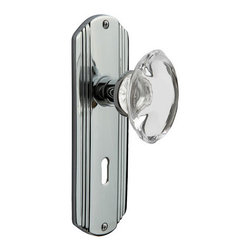 Nostalgic - Nostalgic Passage-Deco Plate-Oval Clear Crystal Knob-Bright Chrome (NW-711376) - The Deco Plate in bright chrome brings to mind old Hollywood, jazz, and The Great Gatsby, all of which inspire a modern twist on great classics from the past. Add our Oval Clear Crystal Knob, with its clean oval shape and smooth outward-curve, and you have the perfect accompaniment for Period, Rustic and Arts & Crafts style homes. All Nostalgic Warehouse knobs are mounted on a solid (not plated) forged brass base for durability and beauty.