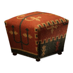 Kathy Kuo Home - Southwestern Cabin Rustic Lodge Mtn. Ray Cube Kilim Ottoman - You love the look of wool kilim rugs and now you can have an upholstered cube in the same style. The brass nail head trim is an additional decorative element that pulls the whole look together.