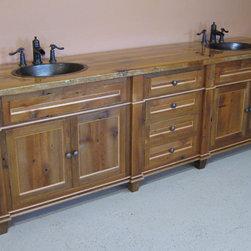 Reclaimed Barn Wood Bathroom Vanity - Reclaimed Wood Antique Style Bathroom Vanity by Vienna Woodworks
