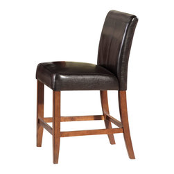 Steve Silver Furniture - Steve Silver Clayton Counter Chair w/ Dark Brown Vinyl Seat in Cherry (Set of 2) - With heights to match the counter table, these cushy high backed dark brown-vinyl beauties offer comfort and durability to your lifestyle.