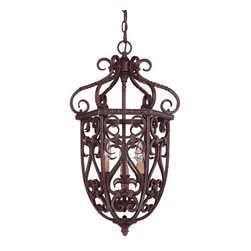 """Savoy House - Bellingham 14"""" 3-Light Cage Foyer - Bellingham is a European inspired design from Savoy House that will complement a wide range of home decor. The Bark and Gold finish is the perfect backdrop for Textured Scavo Glass shades, creating a rich and appealing classic."""