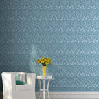 Damask Bari J Wall Stencil - This Damask Wall Stencil from Royal Design Studio is a Bari J Stencil Collection exclusive! Get swept up with romance and decorate your walls and furniture with this nature inspired floral and vine pattern. The soft design is also perfect for floor and fabric DIY stencil projects.