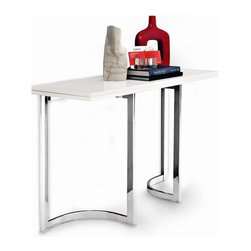 """Calligaris - Hall Console Table - Can be transformed into a dining table thanks to the wooden flip-top. Legs rotate 45 degrees for greater stability when the table is extended. Features unusual frame with 2 """"U-shaped"""" metal trestle legs, slightly curved in the center. White Lacquered top. Chrome metal base. Assembly required. 47.25 in. W x 31.5 in. D x 29.625 in. H"""