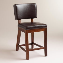 World Market - Espresso Bonded Sophia Leather Counter Stools, Set of 2 - Our Espresso Bonded Leather Sophia Counter Stool captures the chic, subtle lines and solid construction of yesteryear coupled with today's affordable price. Crafted of solid wood with espresso bonded leather, it adds a clean, elegant look to any dining room.