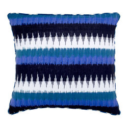Nomad Pillow - Inspired by the relentless wanderlust of the nomad, the exotic ikat design of this reversible pillow will satisfy both your thirst for freedom and your need for comfort. Made from 100 percent natural cotton, its distinctive bold stripes and geometric patterns evoke the thrill of desert camps and high mountain journeys. Bring that same sense of adventure to your home and answer the call of the road every day.     Pillow comes with a synthetic down, hyper-allergenic insert. Dry Clean Only.