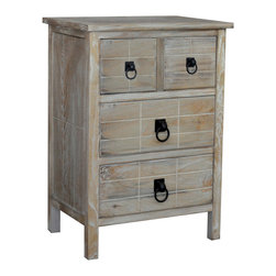 None - Gallerie Decor Driftwood 4-drawer Cabinet - This furniture features a sturdy wood construction,with unique multi-level door and drawer panels to create a dimensional look. Each top is attractively accented with a hand-tapped dot design for a beautiful handmade touch.