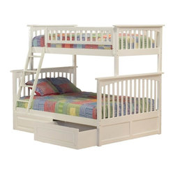 Atlantic Furniture - Columbia Bunk Bed Twin Over Full / Raised Panel Drawers / White - The stunning design and vibrant white finish of this Columbia Bunk Bed Twin over Full / Raised Panel Drawers / White makes it ideal for any child's bedroom. Your child will love overseeing her room from the top twin bunk, while a sleepover pal or sibling rests on the bottom full size bed. You'll also enjoy having extra storage space for your child's clothes, linens and more in the bottom roomy drawers. Keep this bed for years of use because it's built to last, made of eco-friendly Rubberwood that's known for its beautiful look and strength.