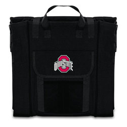 Picnic Time - Ohio State Stadium Seat in Black - The Stadium Seat is ideal for anyone who enjoys sporting events, concerts, or other arena activities. This padded seat is made of durable 600D polyester and provides maximum seat support, which is especially useful when sitting on hard bleacher seats or benches. EPE foam in the seat's core also insulates your seat from cold bleachers. A large zippered pocket keeps all of your essentials within reach. Convenient carry straps allows the seat to be carried as a folded tote. You'll want to take the Stadium Seat to every spectator event to ensure your seating comfort.; College Name: Ohio State; Mascot: Buckeyes; Decoration: Embroidered
