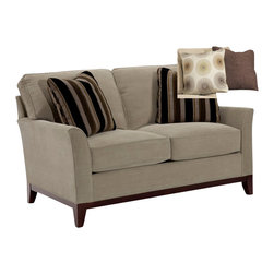 Broyhill - Broyhill Perspectives Two Seat Beige Loveseat with Cognac Wood Finish - Broyhill - Loveseats - 44451Q - About This Product: