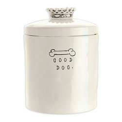 Dog Treat Jar - Transitional homes with pets deserve the same quality of design in animal-owner necessities as in other home accents, and the Dog Treat Jar in white ceramic fills the need for extra canisters with quirky, eclectic appeal. Detailed with a stylized bone and spare typewriter font, the cylindrical treat jar provides a surprising touch with the richly-detailed, crown-shaped knob that tops its lid.