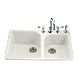 KOHLER - KOHLER K-5932-4-0 Executive Chef Self-Rimming Kitchen Sink with Four Hole Faucet - KOHLER K-5932-4-0 Executive Chef Self-Rimming Kitchen Sink with Four Hole Faucet Drilling in White