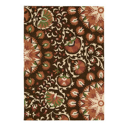 Nourison - Nourison Suzani Suz02 Brown Area Rug - Give any room a touch of nature with a Nourison Suzani rug. This rug is a contemporary take on the traditional floral patterns. The patterns range from whimsical to distinctive plants and flowers. For example, you can pair this rug with a large planter to create an intriguing wilderness. You can even add the rug to a room with a Queen Anne chair to add a visual appeal into a space. Each of the Suzani area rugs are made with 100 percent hand tufted wool.