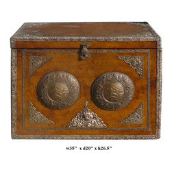 Oriental Tibetan Silver Hardware Leather Rectangular Trunk Table - This is an old trunk with a layer of leather covered. The edge and the front is decorated with silver hardware with Tibetan style motif. It is a collectible decorative piece in the modern home from its rich vintage oriental accent element.