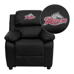 "Flash Furniture - Rider University Broncs Black Leather Kids Recliner with Storage Arms - Get young kids in the college spirit with this embroidered college recliner. Kids will now be able to enjoy the comfort that adults experience with a comfortable recliner that was made just for them! This chair features a strong wood frame with soft foam and then enveloped in durable leather upholstery for your active child. This petite sized recliner features storage arms so kids can store items away and retrieve at their convenience. Rider University Embroidered Kids Recliner; Embroidered Applique on Headrest; Overstuffed Padding for Comfort; Easy to Clean Upholstery with Damp Cloth; Flip-Up Storage Arms; Storage Arm Size: 3.25""W x 6""D x 11""H; Solid Hardwood Frame; Raised Black Plastic Feet; Intended use for Children Ages 3-9; 90 lb. Weight Limit; Black LeatherSoft Upholstery; LeatherSoft is leather and polyurethane for added Softness and Durability; CA117 Fire Retardant Foam; Safety Feature: Will not recline unless child is in seated position and pulls ottoman 1"" out and then reclines; Overall dimensions: 25""W x 26"" - 39""D x 28""H"